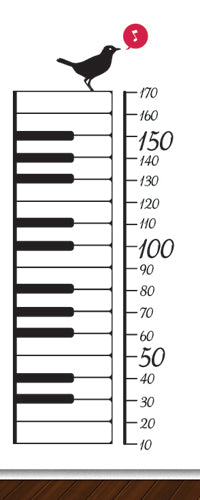 Piano Keys Height Chart - Vinyl Sticker