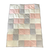Patchwork Quilt - Blush, Silver & White
