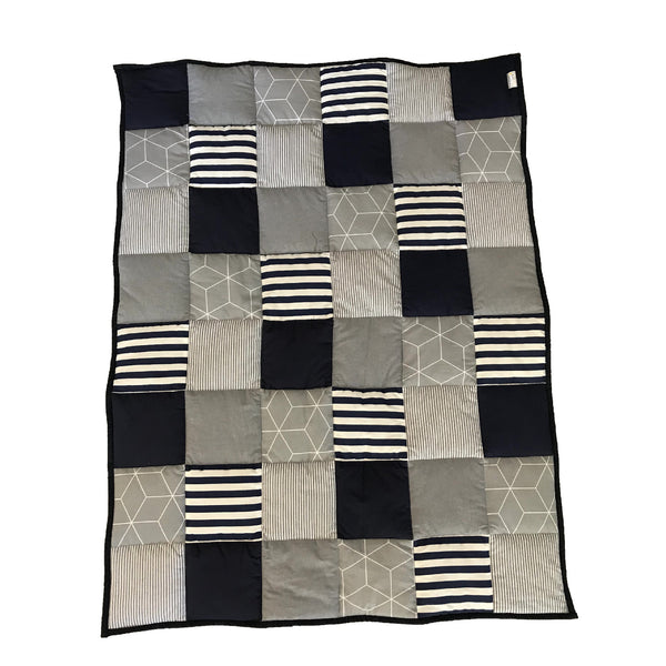 Patchwork Quilt - Navy & Charcoal
