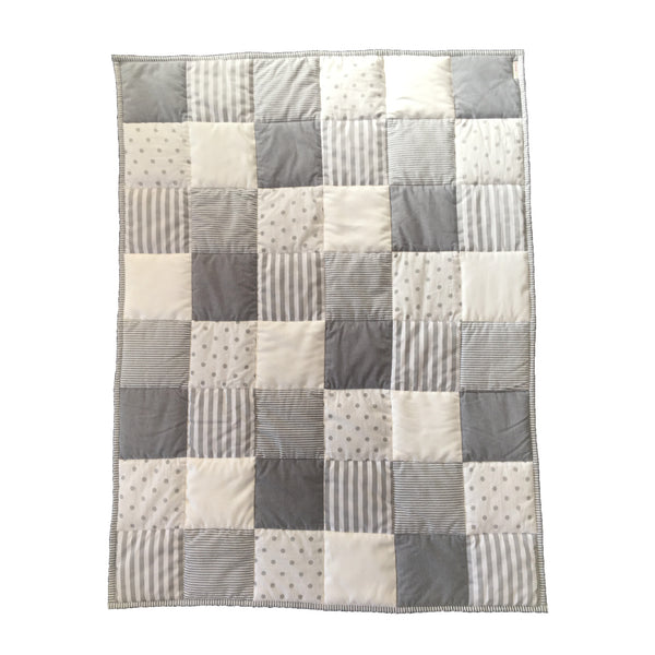 Patchwork Quilt - Charcoal, Grey & White