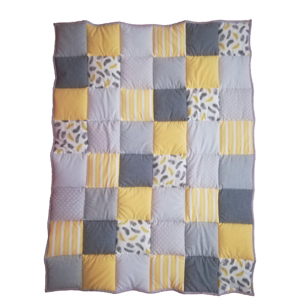 Patchwork Quilt - Yellow, Silver & Charcoal