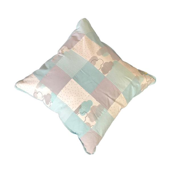 Patchwork Scatter Cushion - Aqua & Silver