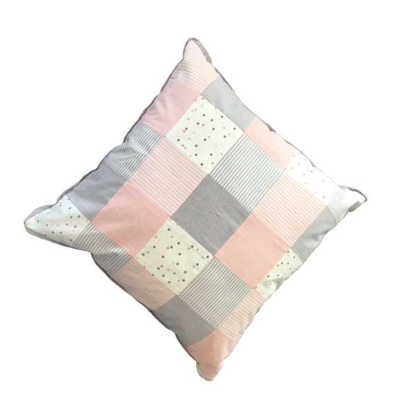 Patchwork Scatter Cushion - Blush, Silver & White