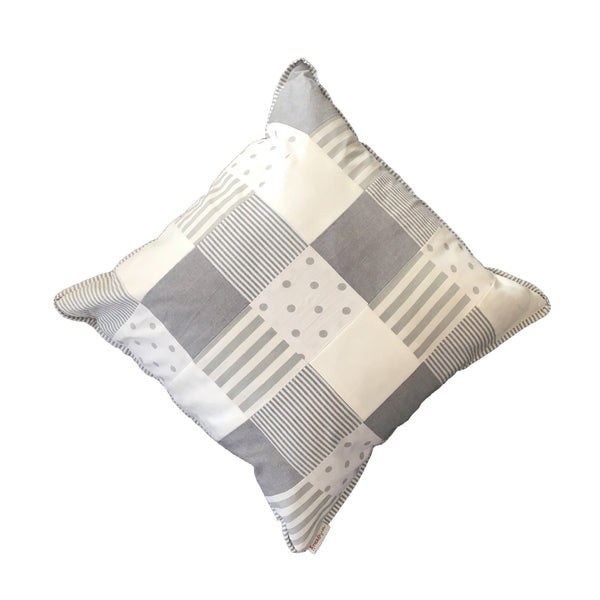 Patchwork Scatter Cushion - Charcoal & White