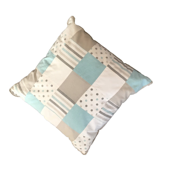 Patchwork Scatter Cushion - Duck Egg & Grey