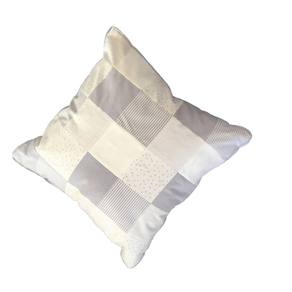 Patchwork Scatter Cushion - Silver & White