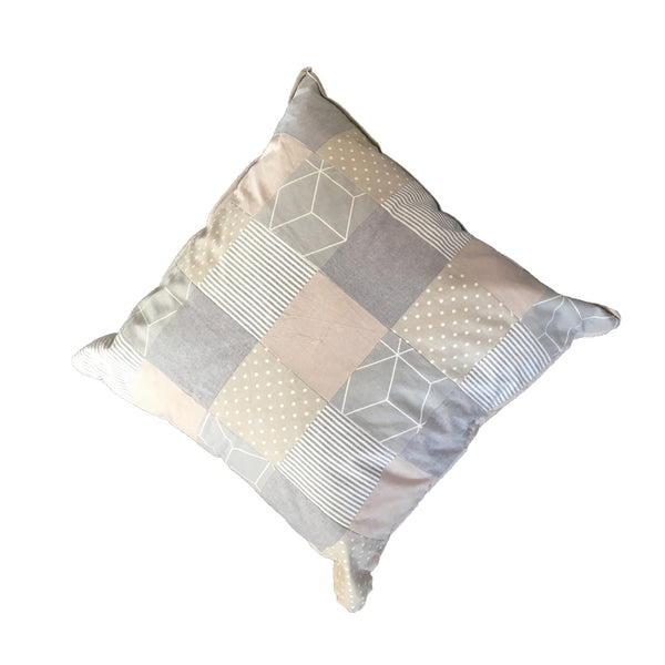 Patchwork Scatter Cushion - Stone & Charcoal