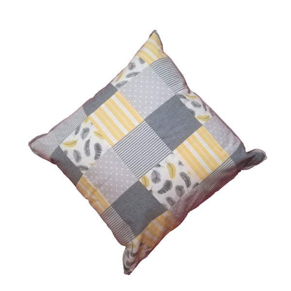 Patchwork Scatter Cushion - Yellow, Silver & Charcoal