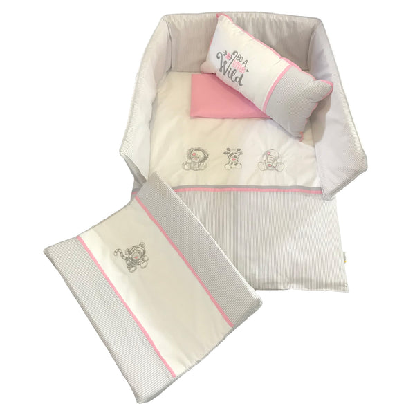 Jungle Animals Linen Set - Pink & Silver