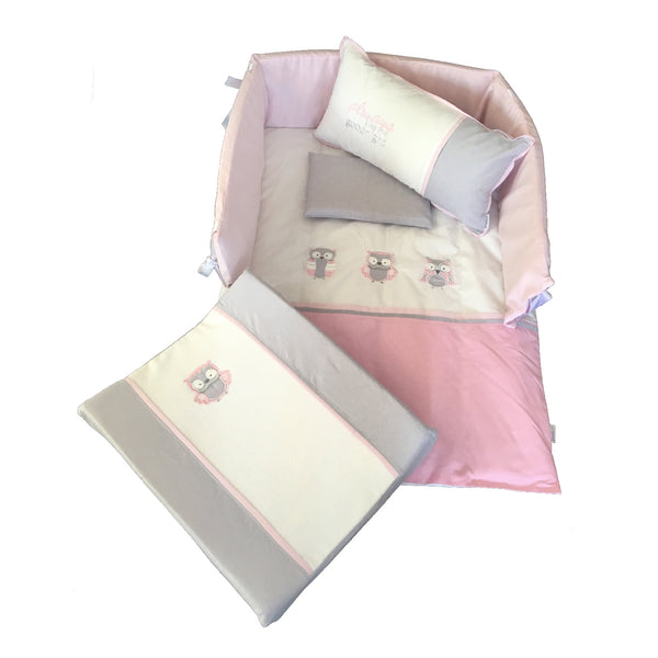 Owl Linen Set - Pink & Grey