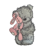 Scruffy Bear Linen Set - Grey & Dusty Pink