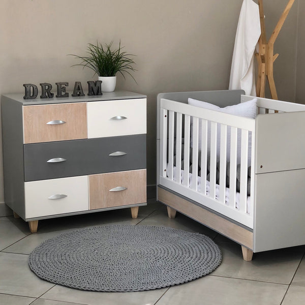 Maple Cot & Small Maple Compactum - 5 Drawers