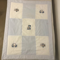 Terrific Transport Blue & Stone - Cot Quilt