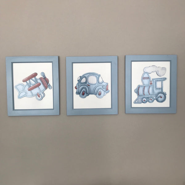 Terrific Transport Blue & Red - Set of 3 Character Pictures