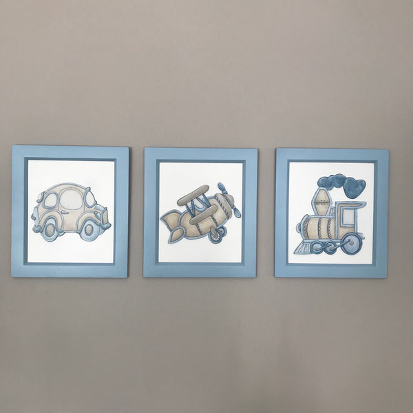 Terrific Transport Blue & Stone - Set of 3 Character Pictures