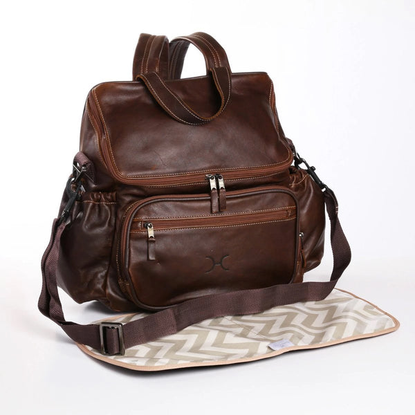 Tobacco - Leather Nappy Backpack