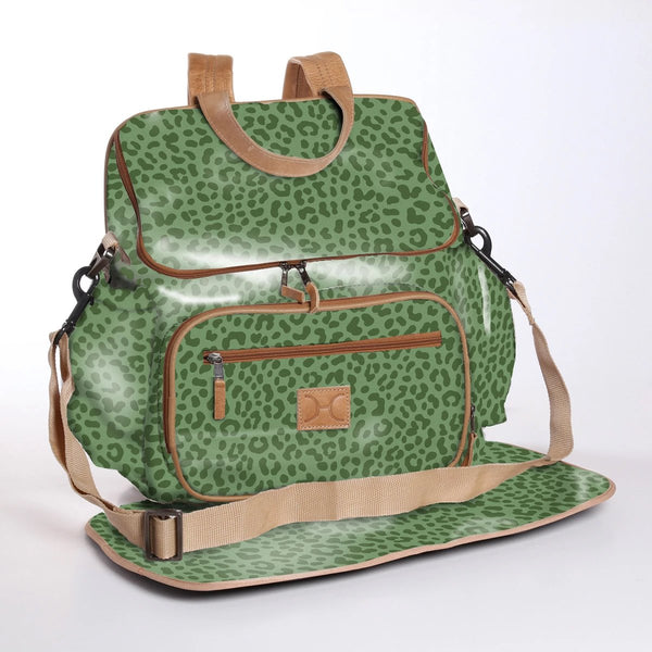 Cheetah Olive - Laminated Nappy Backpack