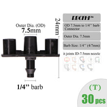 Load image into Gallery viewer, RBCFHI Garden Irrigation Connectors Barbed Single Double Tee Elbow Drip Arrow Cross Coupling Watering Fitting For 3/5 4/7mm Hose