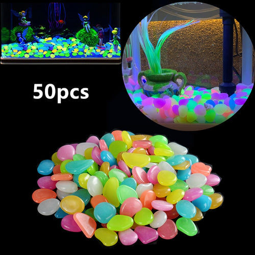 50Pcs Garden Luminous Glowing Stone Pebble Glow in the Dark Garden Glow Stones Rocks for Walkways Garden Path Patio Lawn Decor