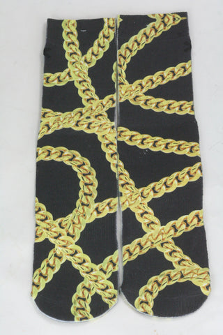 Black gold chain Socks - HatsbyWill  - 1