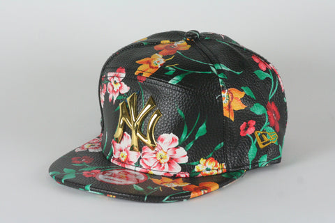 Yankees Black Floral Leather Snapback - HatsbyWill  - 1