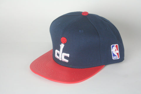Wizards Navy Blue & red leather Brim Snapback - HatsbyWill  - 1