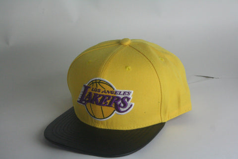 Lakers yellow leather brim Snapback - HatsbyWill  - 1