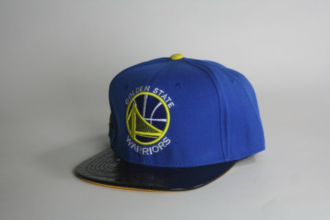 Golden State blue/black patent leather brim snapback - HatsbyWill  - 1