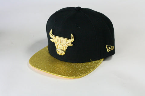 Bulls gold logo Black and gold sparkle brim snapback - HatsbyWill  - 1