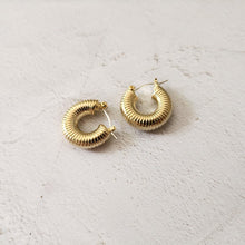 Load image into Gallery viewer, 18k Gold Plated Adella Hoops - Sateur Allure