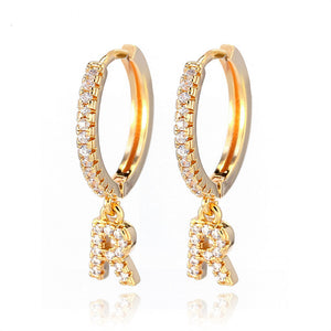 Crystal Initial Earrings - Lussuro