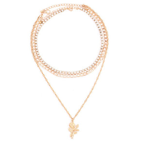 Rose Stacked Necklace - Sateur Allure