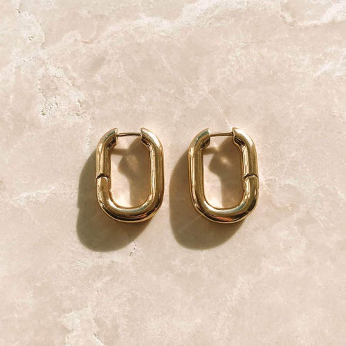18k Gold Plated Adella Hoops - Sateur Allure