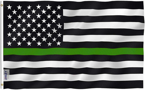 Thin Green Line USA Flag Border Control - Vivid Color and UV Fade Resistant - Double Stitched 3 X 5 Ft