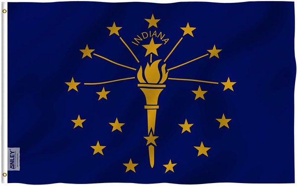 Indiana State Flag - Vivid Color and UV Fade Resistant - Double Stitched 3 X 5 Ft