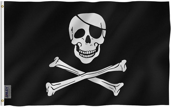 Jolly Roger Pirate Flag with Patch - Vivid Color and UV Fade Resistant - Double Stitched 3 X 5 Ft