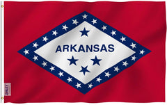 Arkansas State Polyester Flag - Vivid Color and UV Fade Resistant - Double Stitched 3 X 5 Ft