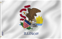 Illinois State Flag - Vivid Color and UV Fade Resistant - Double Stitched 3 X 5 Ft