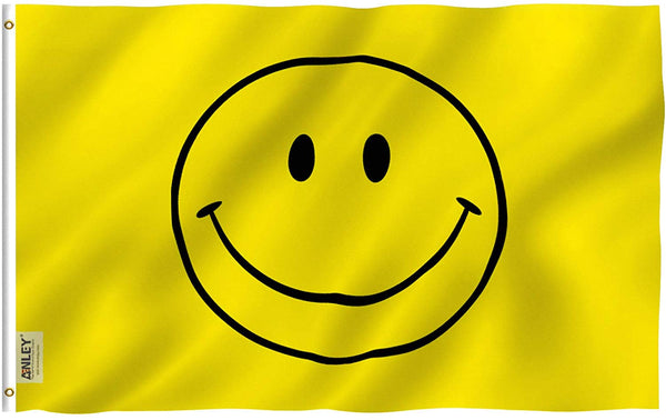 Yellow Smiley Face Flag - Vivid Color and UV Fade Resistant - Double Stitched 3 X 5 Ft