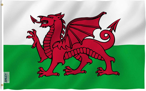 Wales Flag - Vivid Color and UV Fade Resistant - Country Double Stitched 3 X 5 Ft