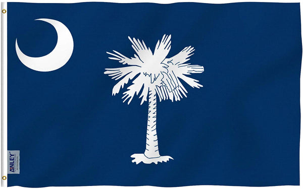 South Carolina State Polyester Flag - Vivid Color and UV Fade Resistant - Double Stitched 3 X 5 Ft