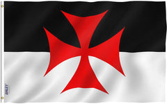 Knights Templar Battle Flag - Vivid Color and UV Fade Resistant - Double Stitched 3 X 5 Ft