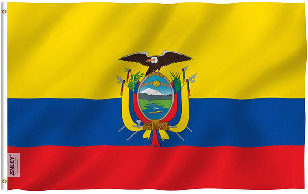 Ecuador Flag - Vivid Color and UV Fade Resistant - Country Double Stitched 3 X 5 Ft