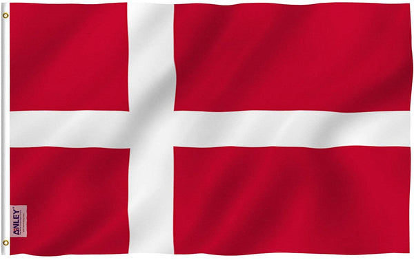 Denmark Flag - Vivid Color and UV Fade Resistant - Country Double Stitched 3 X 5 Ft