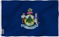 Maine State Flag - Vivid Color and UV Fade Resistant - Double Stitched 3 X 5 Ft
