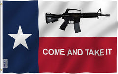 Texas Come and Take It Rifle Flag - Vivid Color and UV Fade Resistant - Double Stitched 3 X 5 Ft
