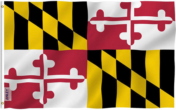 Maryland State Polyester Flag - Vivid Color and UV Fade Resistant - Double Stitched 3 X 5 Ft