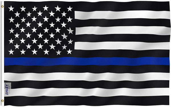 Thin Blue Line USA Flag - Vivid Color and UV Fade Resistant - Double Stitched 3 x 5 Ft