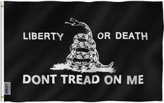 BLACK Liberty Or Death Gadsden Flag - Vivid Color and UV Fade Resistant - Double Stitched 3 X 5 Ft