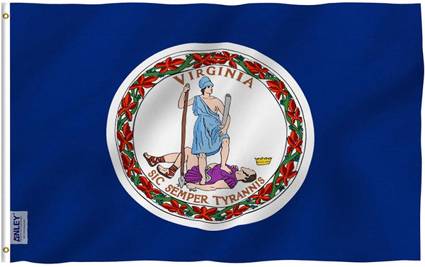 Virginia State Polyester Flag - Vivid Color and UV Fade Resistant - Double Stitched 3 X 5 Ft